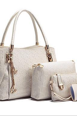Women PU Shopper Tote - White / Blue / Gold / Black
