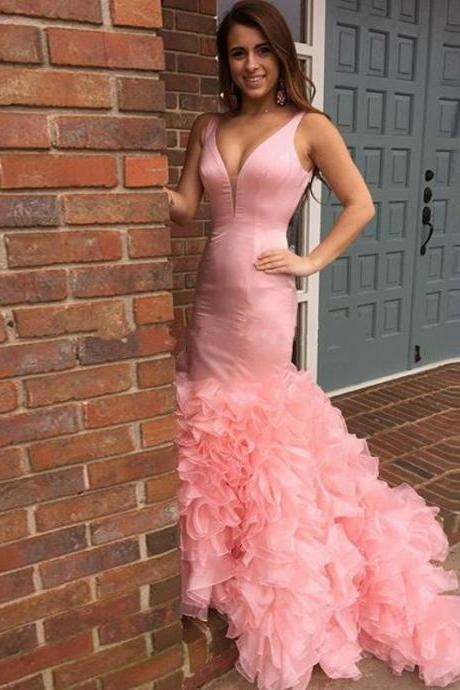 Prom Dress v neck trumpet mermaid pink ruffles prom dress formal dress