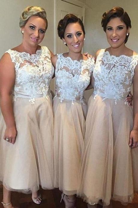 Champagne bateau neck ankle length lace 2016 bridesmaid dresses wedding party dresses bridesmaid honor dresses under 100
