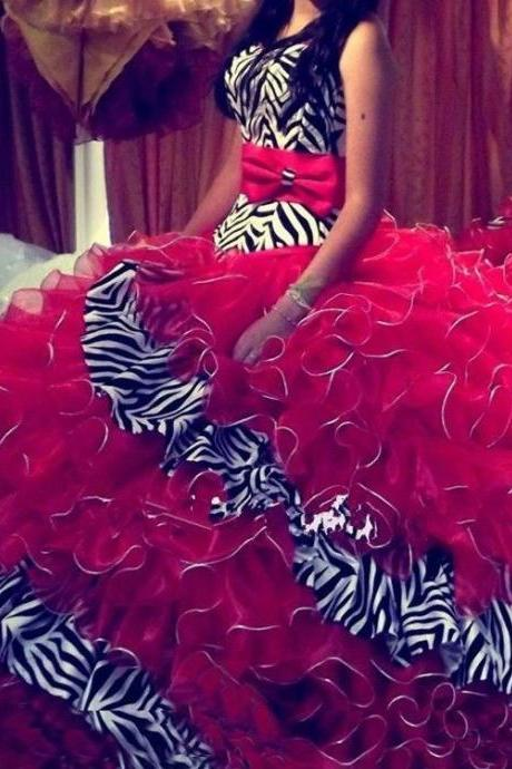 Red Unique Zebra Sweetheart Ball Gown Ruffles Long Organza Quinceanera Dress