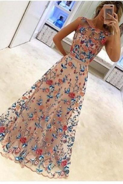 2017 Hot Sale Floral Colorful A Line Flower Beautiful New Arrival Prom Dresses Formal Dresses