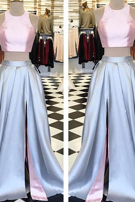 pink top long satin two piece prom dress,slit dress,party gowns,long evening dress,halter dresses 2017