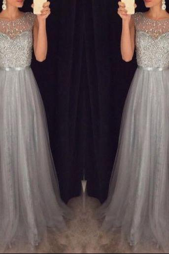 Elegant scoop silver gray tulle A line lace see through Beading formal prom dresses 2017