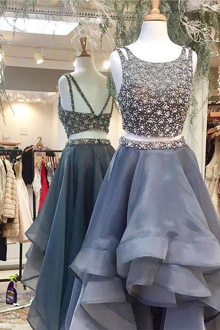 Unique sliver scoop ball gown ruffles organza backless beading two piece crop top formal prom dress 2017