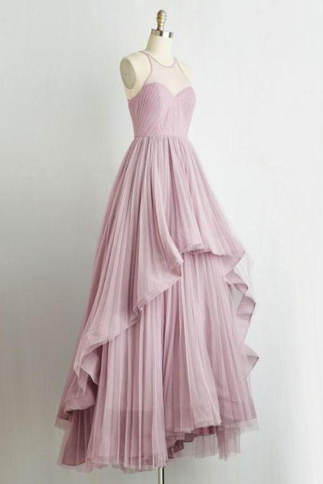 Unique high low ruffles pink pleats scoop chiffon prom formal dresses 2017