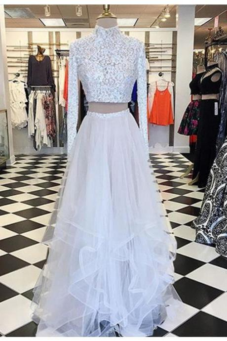 Chic Two Piece A-line High Neck Long Sleeves Asymmetry Tiered White Prom Dress with Lace