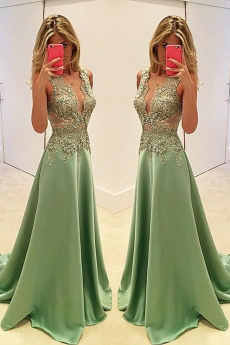 Sexy Deep V-neck Sweep Train Chiffon Satin Prom Dress with Beading