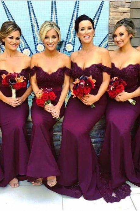 mermaid prom dress,lace appliques evening gowns,purple lace sweetheart long mermaid bridesmaid dresses 2017 elegant