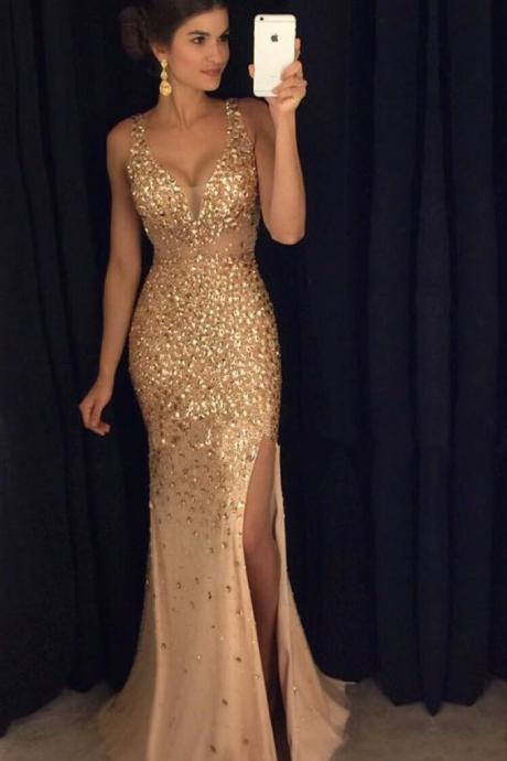 2017 Sexy Long Crystal Beaded Prom Dress With Slit Mermaid Prom Dresses Evening Gown Formal Wear