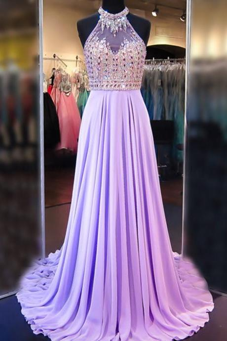 A Line Cowl Neck Sleeveless Long Pleated Beaded Lilac Prom Dress Lavender Open Back Prom Dresses