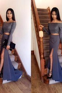 2 piece Prom Dresses,2 Piece Prom Gown,Two Piece Prom Dresses,Prom Dresses,New Style Prom Gown,2017 Prom Dress,Prom Gowns