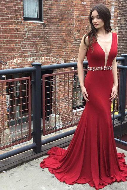 Deep V Neckline Mermaid Evening Prom Dresses, Long Backless Sexy Party Prom Dress, Custom Long Prom Dresses, Cheap Formal Prom Dresses