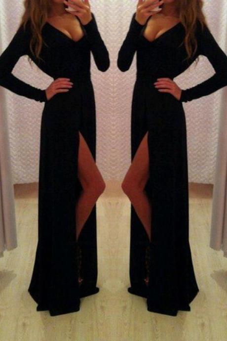 Sexy Prom Dress,Long Sleeve Prom Dress,V-Neck Prom Dress,Split Prom Dress,Black Prom Dress,Chiffon Prom Dresses