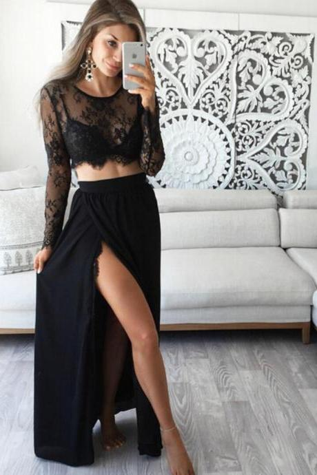 Lace Chiffon Black two piece Long Sleeve Prom Dress