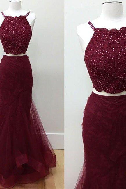 Hot Selling Two-Piece Prom Dress, Mermaid Prom Dress, Sexy Burgundy Prom Dresses, Long Prom Dress with Beading, Prom Dresses,Prom Dress 2017, Dress for Senior Prom