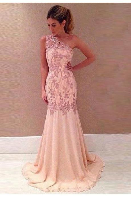 Sexy Pink One Shoulder Sweep Train Mermaid Prom Dress with Lace Appliques 2017