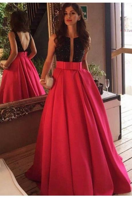 Elegant A-line Crew Neck Floor Length Rose Pink Backless Prom Dress with Beading Bowknot 2017