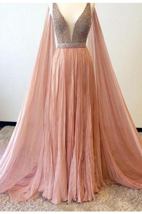 Elegant A-line V-Neck Sleeveless Watteau Train Peach Prom Dress with Beading 2017