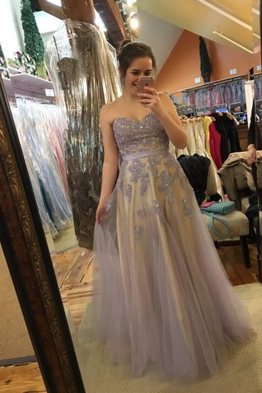 Charming Prom Dress,Appliques Prom Dress,Sweetheart Prom Dress,Tulle Evening Dress 2017