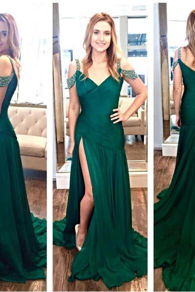 Crystal Ruffles Zipper Green A-Line Long Split Evening Dresses Evening Gowns 2017