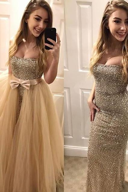 Sparkly Strapless Mermaid Long Champagne Prom Dress Evening Dress with Detachable Train 2017