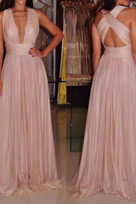 Charming Prom Dress,Chiffon Prom Dress,A-Line Prom Dress,V-Neck Evening Dress 2017