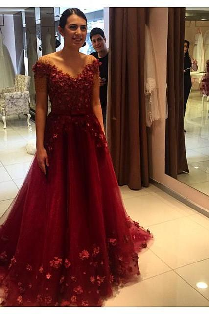 Prom Dress Prom Dresses Floral Appliques Formal Off-the-Shoulder Puffy Red Evening Gowns 2017