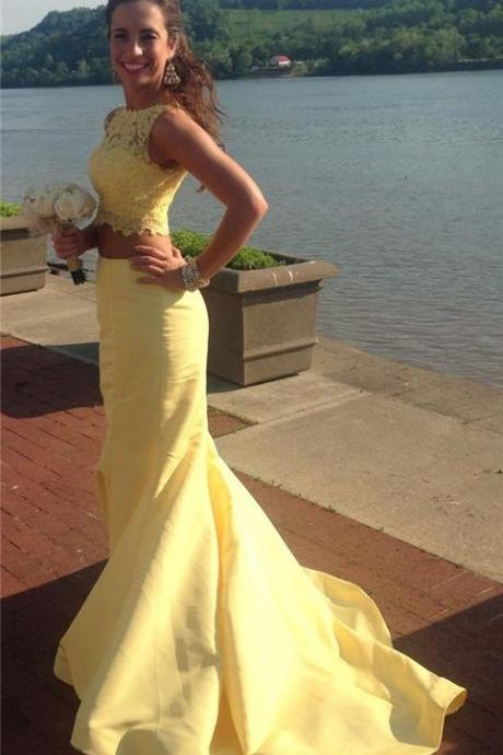 Prom Dresses,Yellow Prom Dress,New Prom Gown,2 pieces Prom Dresses,Yellow Evening Gowns,2 piece Evening Gown,lace Prom Gowns