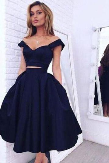 Vintage Style A-line Two-piece Black Homecoming Dress/Evening Dress,Cheap two piece prom dresses 2017