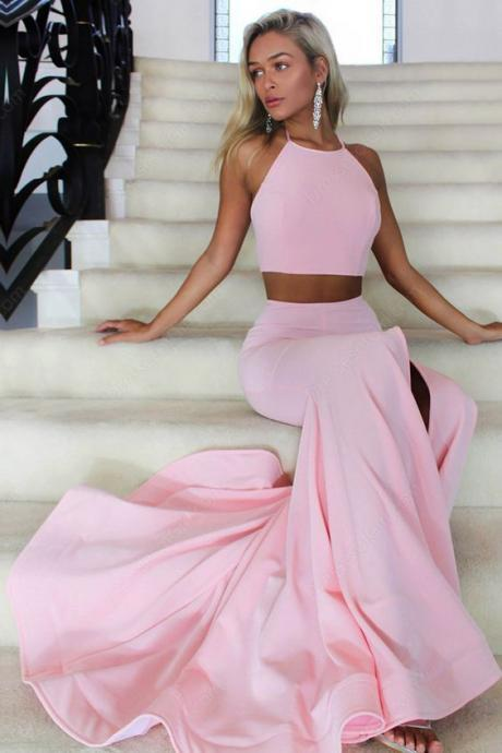 Pink Two Pieces Simple Slim Long Mermaid Prom Dresses, High Neck Prom Dress, Senior Prom Dress, Sexy Slit Prom Dress, Prom Party Dress, Prom Dress 2017