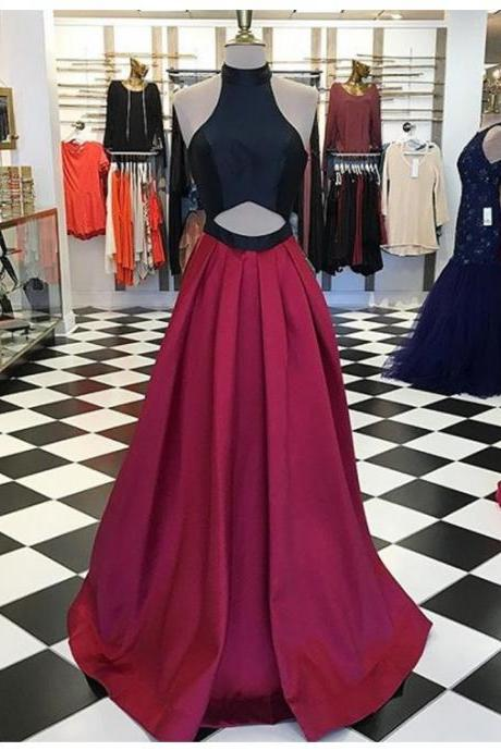 Cheap Prom Dresses 2017 Sexy Halter Sleeveless Floor-Length Burgundy A-Line Prom Dress with Pleats