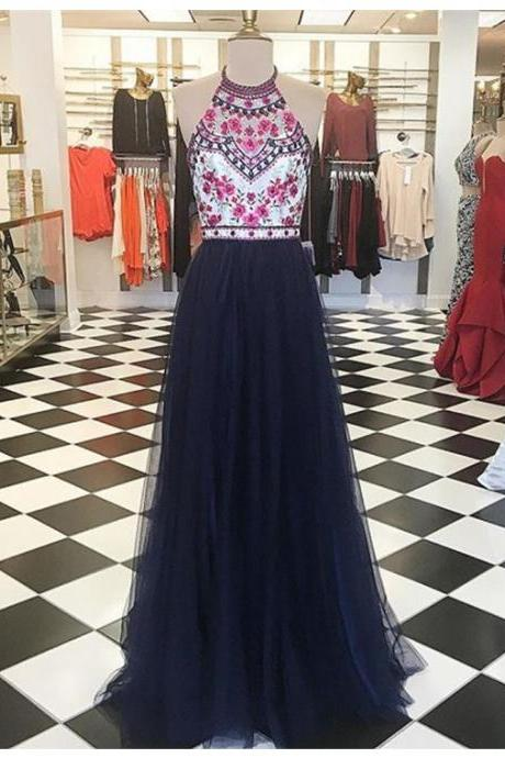 Cheap Prom Dresses 2017 Modern Halter Floor-Length Navy Blue Prom Dress with Embroidery Beading