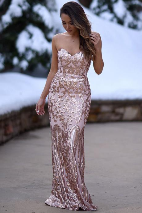 Mermaid Sweetheart Floor-Length Blush Stretch Satin Prom Dress with Appliques