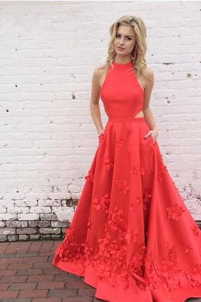 Gorgeous A-line Red Long Prom Dress with Train cheap prom dresses 2017