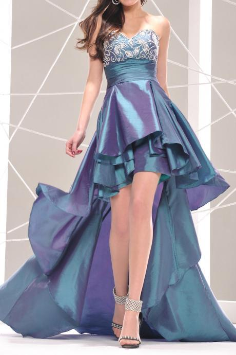long sweetheart empire waist high low prom dresses,party dress