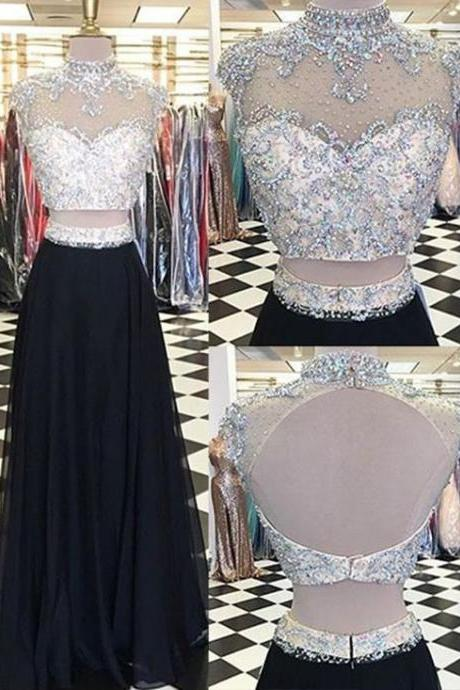 Cheap Prom Dresses 2017 Glamorous Two Piece High Neck Cap Sleeves Long Black Prom Dress with Beading,Fashion Prom Dress,Sexy Party Dress,Custom Made Evening Dress