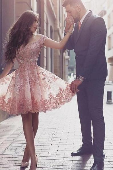cheap homecoming dresses 2017 short ,Short A-line Off the shoulder Short Pink Prom Dress Homecoming Dress