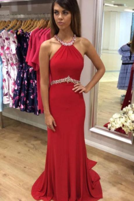 cheap prom dresses 2017 Red Prom Dress,Halter Prom Dress,Fashion Prom Dress,Sexy Party Dress,Custom Made Evening Dress