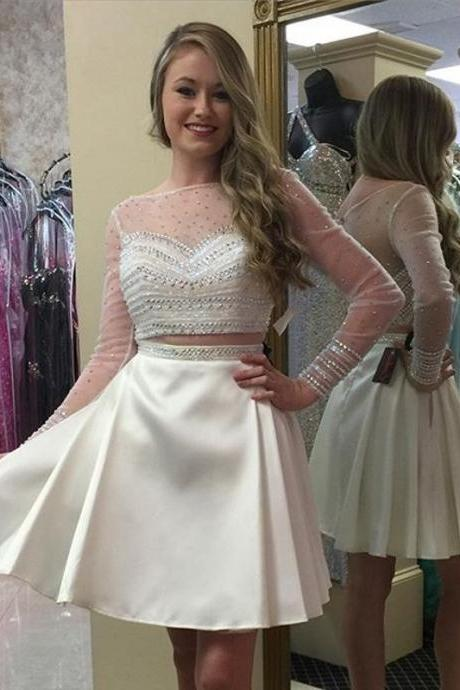 cheap homecoming dresses 2017 short,Prom Dress,Homecoming Dresses, 2 Piece Prom Dress,Long Sleeve Prom Dresses,White Prom Dress,Short Prom Dresses,Cocktail Dresses