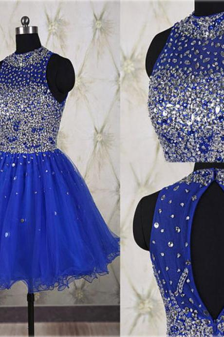 cheap homecoming dresses 2017 short,Hot Sales Rhinestones Royal Blue Short Prom Gown Homecoming Dresses,High Neck Back-O Mini Length Party Dress,Homecoming Dress 2017