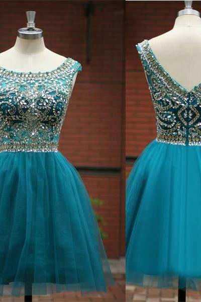 cheap homecoming dresses 2017 short,Custom A line Scoop Sleeveless V Back Tulle Green Short Homecoming Dress