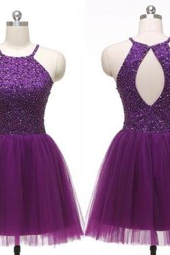 cheap homecoming dresses 2017 short,Halter Purple Tulle Beadings Short Homecoming Dresses,Bodice Back O Mini Length Prom Dresses,Cheap Evening Party Gowns,Cocktail Dress