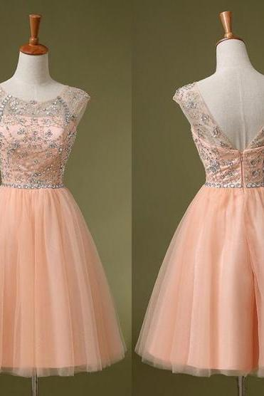 cheap homecoming dresses 2017 short,Blush Homecoming Dress,Blush Cocktail Dress,Low Back Prom Dress,Short Evening Gown,Tulle Cocktail Dress,Knee Length Sweet 16,Prom Gown