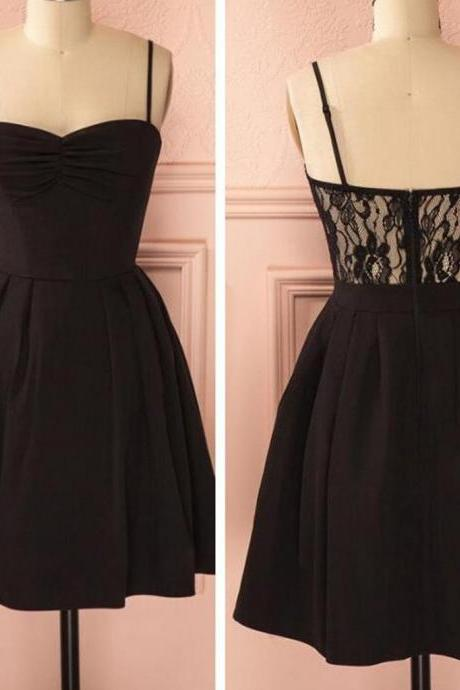 cheap homecoming dresses 2017 short,Spaghetti strap black simple lace cheap sexy homecoming prom dress,