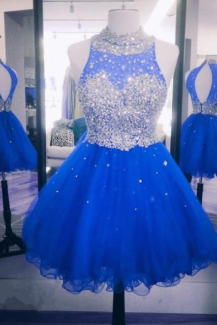 cheap homecoming dresses 2017 short,ming Dress, Short HRoyal Blue Homecoomecoming Dress, High Neck Homecoming Dress, Sparkly Homecoming Dress, Cocktail Party Dresses, Rhinestones Homecoming Dress, Cheap Graduation Dresses