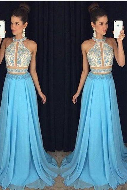 Cheap prom dresses 2017 crop top Charming Prom Dress,Sleeveless Two Piece Prom Dress,Long Evening Dress,Sexy Party Dress