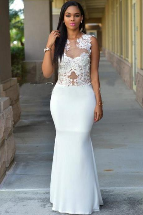 New design prom dresses 2017 Sexy lace prom dress,white lace mermaid prom dresses