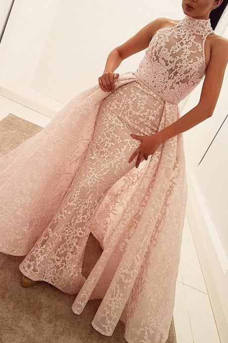 New design prom dresses 2017 high neck prom dress,lace evening dress,mermaid evening gowns,elegant prom dress,removable skirt prom dress,pink evening gowns