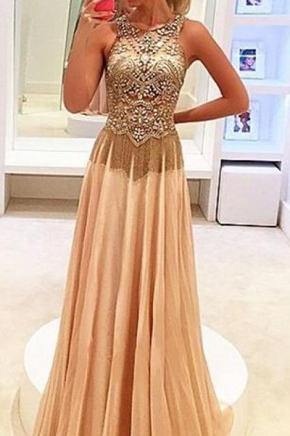 Prom Dress Prom Dress Cheap champagne chiffon formal long evening dresses