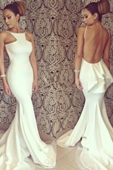 White Sexy Prom Dress, Long Prom Dress, Backless Prom Dress, Formal Prom Dress ,Mermaid Prom Dress, Cheap Prom Dress